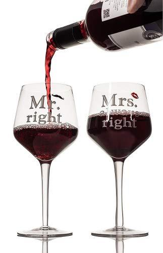 Livivo® Paire de 2 verres à vin Mr Right et Mrs Always Right – Élégant et attractif Grande 400 ml Verre à pied Cadeau de boîte – Cadeau idéal pour les mariages, anniversaire de mariage, fiançailles et Couples