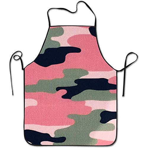 Pink Camo Bib (CVDFVFGB Pink Green Jungles Camo Aprons Bib Mens Womens Lace Adjustable Polyester Chef Cooking Long Full Kitchen Aprons for Indoor Restaurant Cleaning Serving Crafting Gardening Baking BBQ Grill)