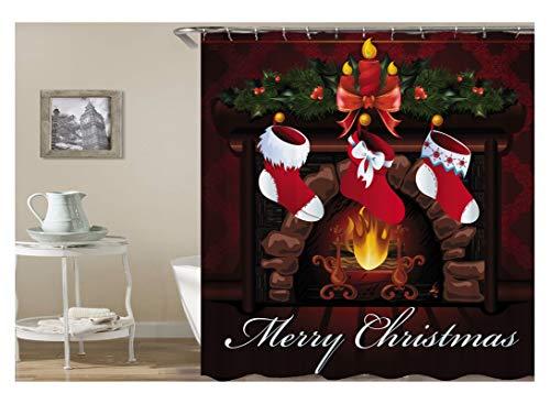 Adisaer tenda per doccia liner antibacterial colorful camino calze natalizie merry christmas 120x180 impermeabili con ganci bianchi