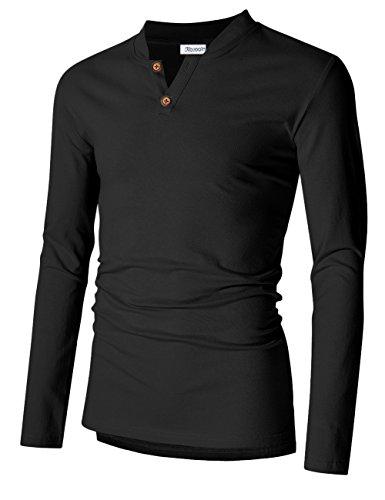 KoJooin Herren Slim Fit Langarm Shirt Langarmshirts herren sweatshirts Henley T-Shirts Schwarz