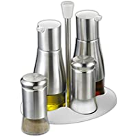 Esmeyer Belle - Juego de vinagreras de 5 piezas de acero inoxidable, cristal y plástico, en caja de regalo