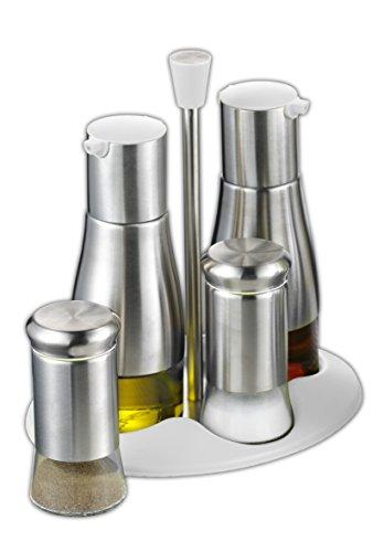Esmeyer 290-270 - Set da 5 Pezzi Belle in Acciaio Inox, Vetro e plastica, con oliera e acetiera