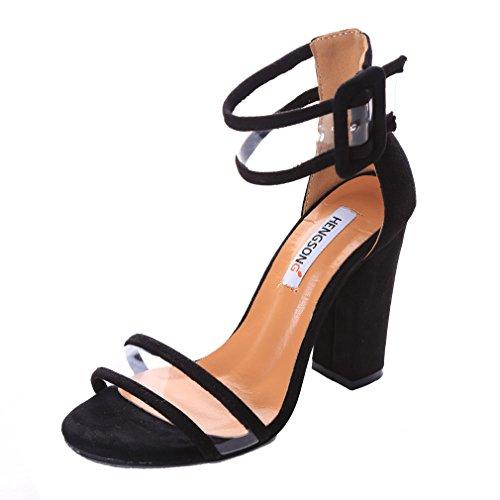Hengsong Femme Eté Sandales à Talons Épais Talons Hauts Chaussures Sandales (EU38, Noir)