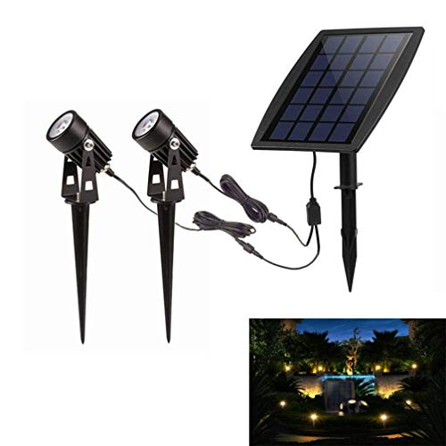 VOVOVO Luces solares Exterior Foco Solar Impermeable para Patio, jardín y Entrada de Coches, De anochecer a Amanecer Automático Encendido (6000K-blanco frío)