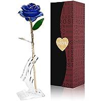 Rosa de Oro 24K con Base Soporte,Fresco Rosas Vivas Flores Chapadas en Oro con Caja de Regalo para el Día de San Valentín Día de la Madre Navidad Cumpleaños - Azul