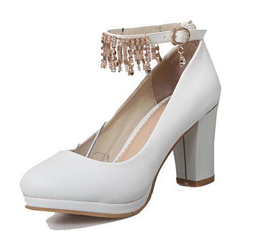 AgooLar Femme Boucle à Talon Correct Pu Cuir Couleur Unie Rond Chaussures Légeres Blanc