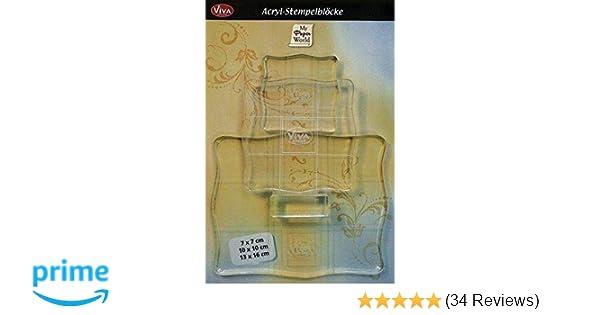 gut in der Handhabung Acryl Stempelblock mit Hilfslinien 10cm x 10cm