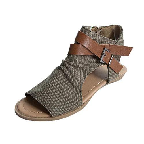 Makefortune-Damenschuhe Frauen Crisscross Riemchen Schnalle Ausschnitt gestapelt niedrigen Sandaletten Zip Side Ankle Boots Open Back Balla Wedge Sandalen - Nike Ankle-boots Frauen Für