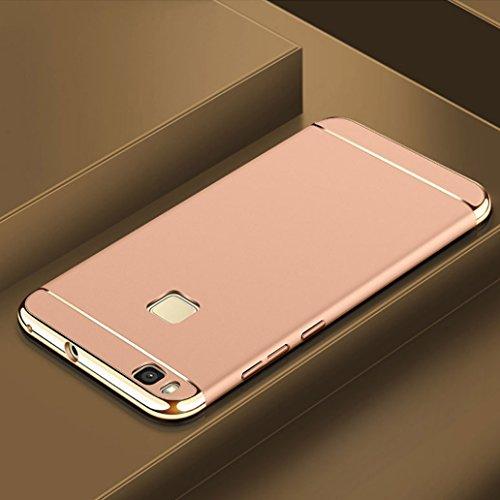 Custodia Huawei P9 Lite, Yoowei Cover Huawei P9 Lite 3 in 1 Alta Qualità Ultra Sottile Piena Protezione PC Shell Duro Retro Custodia per Huawei P9 Lite 5.2, Nero Silky Gold