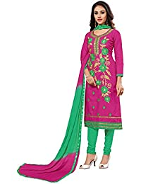 Nivah Fashion Women's Ltest Cotton Embroidery Work With Stoning Salwar Sui (Free Size_Semi-Stich) G10(Magenta)