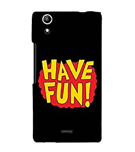 Fiobs Designer Back Case Cover for Micromax Canvas Selfie 2 Q340 (Have Fun Enjoy Black Messag)