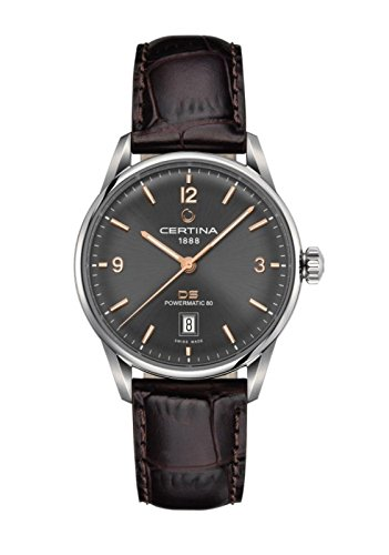 Certina DS Powermatic 80 Homme Bracelet Cuir Marron Automatique Cadran Gris Montre C026.407.16.087.01