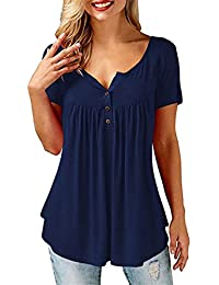 UMIPUBO Bluas de Mujer Camisa Algodón Blusa Mujer Elegante Manga Corta Camisa Suelta Mujer Casual Verano Shirts