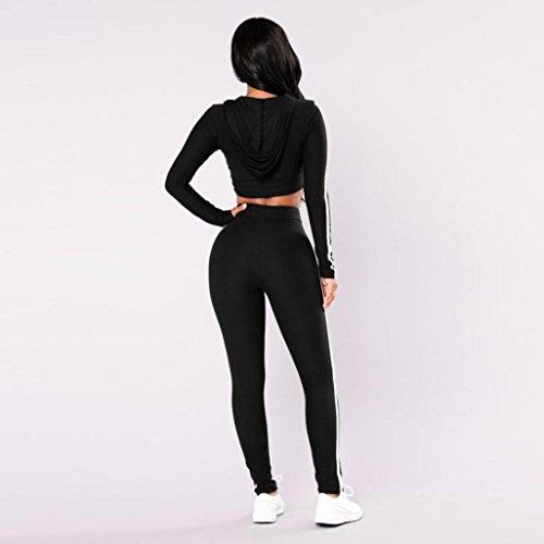 Momola Mode Femmes Sport Porter Casual Ensembles Dames Pull Sweat Capuche Tops et Pantalons Noir