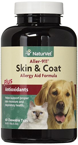 NaturVet aller-911 Skin & Coat allergy Formula helps antioxidants for dogs and cats, 60 CT chewabletablets, Made in the USA