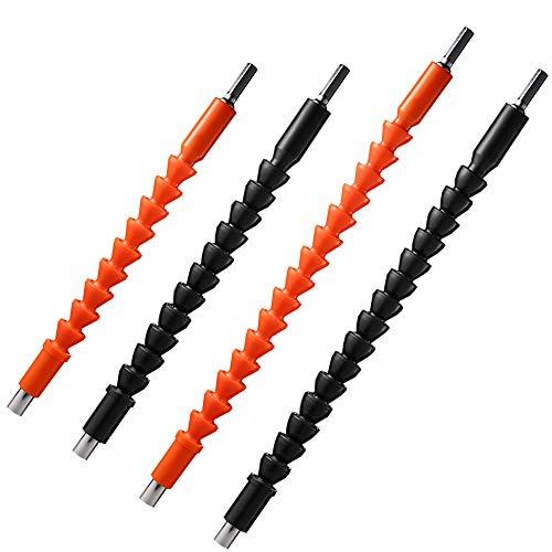 FineGood Flexible Bohrerverlängerung, weicher Bohrer, Adapter für Schraubendreher-Verlängerungswelle für Bohrmaschine, Schwarz, Orange, 4 Stück