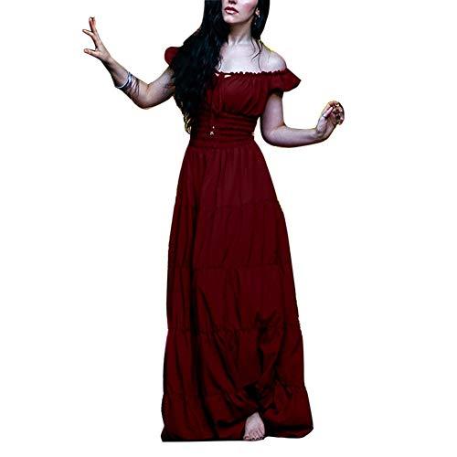GladiolusA Damen Renaissance Mittelalter Kleid Viktorianischen Königin Kostüm Maxikleid Partykleid Burgunderrot M