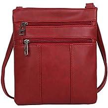 Dragon868 Aktentasche Mode Frauen Reine Farbe Leder Crossbody Taschen Messenger Schultertasche Crossover Umhängetasche Brusttasche Businesstasche (Rot)
