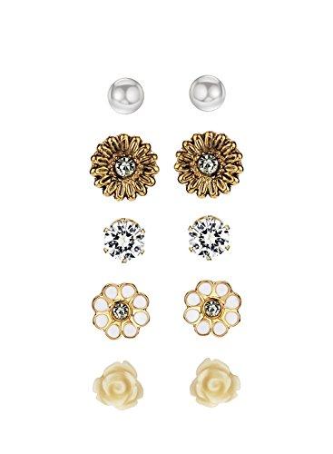 NEOGLORY Ohrringe 5 Paare Silber Blume Kugel Allergiefrei Gelb Gold - Paare Von 2 Für Halloween-kostüme