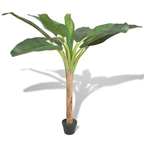 Festnight Kunstpflanze Kunstbaum Künstlicher Bananenbaum mit Topf 150 cm Grün