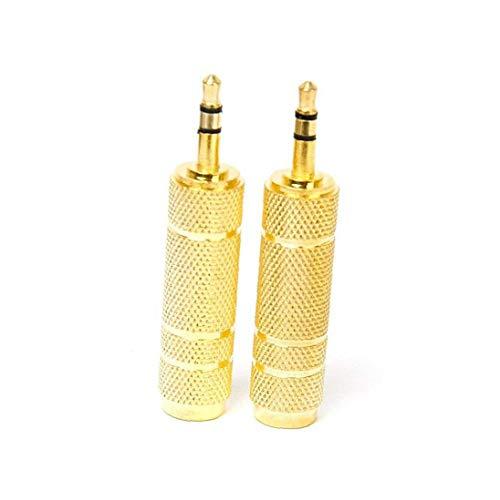 Schnuger Bouchons d'oreille de L'Homme 6.3mm à 3.5mm stéréo femelle adaptateur Prise écouteur plaqué or Audio Jack