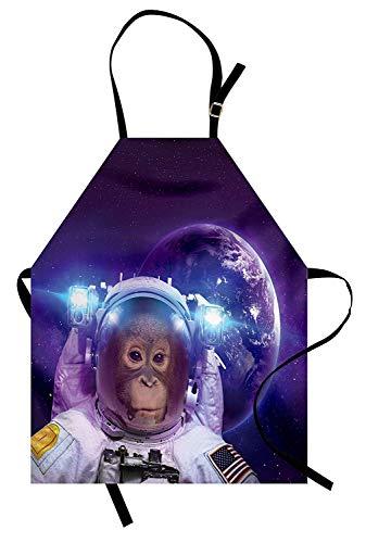 Weltraum-Schürze, Astronauten-Affe im Weltraum mit Planet Earth-Hintergrund-Humor-Bild-Druck, Unisexküchen-Latzschürze mit justierbarem Hals für das Kochen backende Gartenarbeit, violettes ()