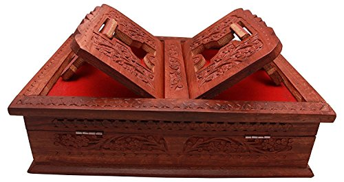Beyond Collection Wooden Hand Carved Holy Book Stand And Box For Quran,Bible,Gita,Ved ,Guru Granth Sahib