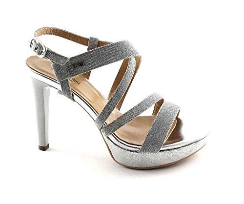 NERO GIARDINI 17890 ghiaccio argento scarpe donna sandali tacco glitter eleganti Argento