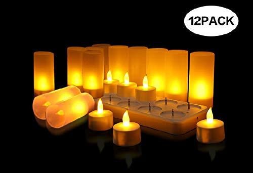 Wiederaufladbare LED Teelichter Flammenlose Kerzen, Kabellose Teelichter, LED-Weihnachtskerzen, Kerzenlichter mit Ladestation, Für Party Hochzeit Hausgarten Outdoor Innendekoration (Gelb, 12pcs)