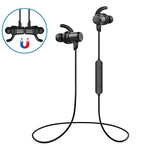 Bluetooth Kopfhörer 4.1 Soundpeats magnetischen in-Ear Sport Hörer mit Mic, HiFi-Sound für Apple und Android Geräte, wasserdicht IPX6 aptX-Technologie, 8 Stunden Brenndauer Max & 10 Meter Reichweite (Q35,Schwarz)