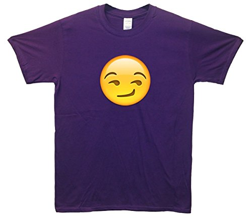 Suggestive Smile Face Emoji T-Shirt Lila