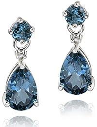 Sterling Silver 3.6ct London Blue Topaz & Diamond Accent Teardrop Earrings