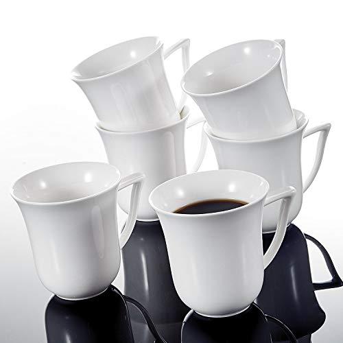 MALACASA, Serie Carina, 6 teilig Set Kaffeeservice Cremeweiß Porzellan Kaffeetasse Tassen 4,75 Zoll...