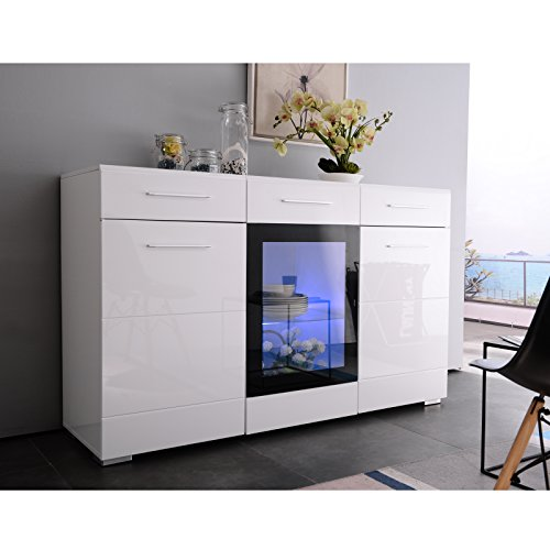 White High Gloss Sideboard Cabinet Cupboard UEnjoy, 150cm 3 Doors & 2 Drawers with LED lighting Sideboard Cabinet High Gloss White Chest of Drawers TV Unit for living room dining room, Carcass in White High Gloss / Front in White High Gloss