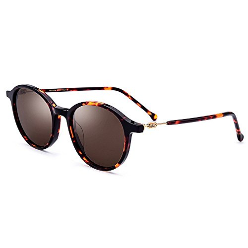 Yiph-Sunglass Sonnenbrillen Mode Damen Sonnenbrille Persönlichkeit Kleine Runde Acetat Faser Blume Rahmen Polarisierte Linse UV Schutz Fahren Angeln Strand Sonnenbrillen (Farbe : Braun)