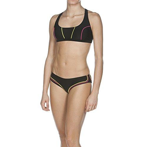 arena Damen Bustier Bikini Sporty 2 Crossed Top, Black/Soft Green/Fresia Rose, 42, 1B238