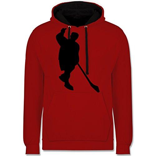 Eishockey - Eishockey - Kontrast Hoodie Rot/Schwarz