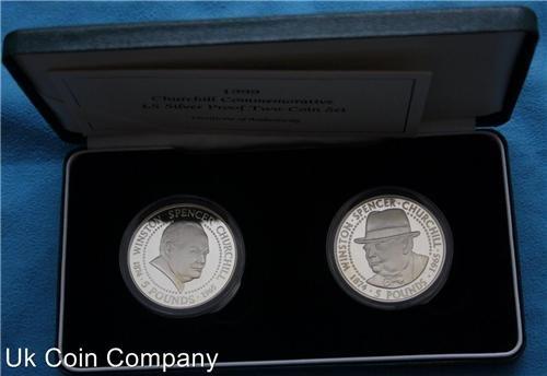 1999Guernsey Alderney Zwei, silber Proof Coin Set in royal mint Box und Echtheitszertifikat Wiston Churchill GEDENKMÜNZE -