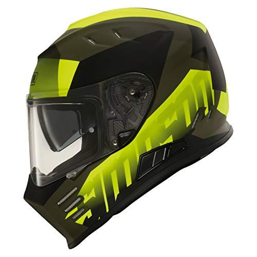 Simpson Venom Army Casco integrale da moto nero opaco fluorescente giallo J&S