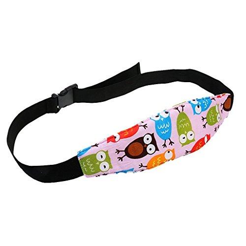 SMARTrich - Soporte para la cabeza del bebé, correa para el cuello del asiento del coche, cinturón de seguridad ajustable para la cabeza del cochecito rosa rosa 30*2.8cm