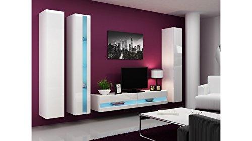 BMF VIGO NEW VII WALL UNIT IN MATT & HIGH GLOSS TV CABINET - WHITE