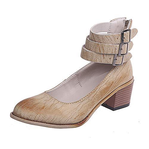 Damen Pumps Mary Janes mit Blockabsatz Plateau Frauen Chunky Heels 5 cm Sommer Frühling Party Schuhe Beige 35 Heel Mary Jane