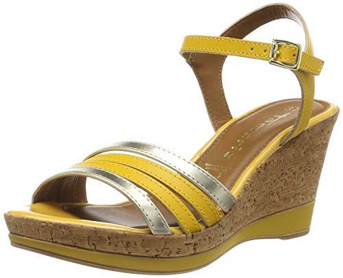 Tamaris Damen 1-1-28320-32 Plateausandalen, Gelb (Sun/Lt. Gold 670), 40 EU - Sandalen Frauen Wedges Schuhe