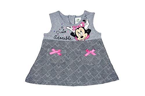 Ärmelloses Baby Mädchen Kinder Kleid ideal auch als Festkleid GRÖSSE 62 68 74 80 86 92 mit Minnie Mouse Design in Grau oder Rosa warm tolle Geschenk Idee auch für Minnie Party Farbe Grau, Größe 80 (80 Kleider Ideen)