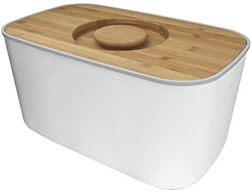 Joseph Joseph Steel Bread Bin with Bamboo Cutting Board Lid - White