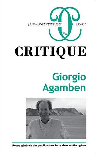 Critique, N° 836-837, janvier-février 2017 : Giorgio Agamben