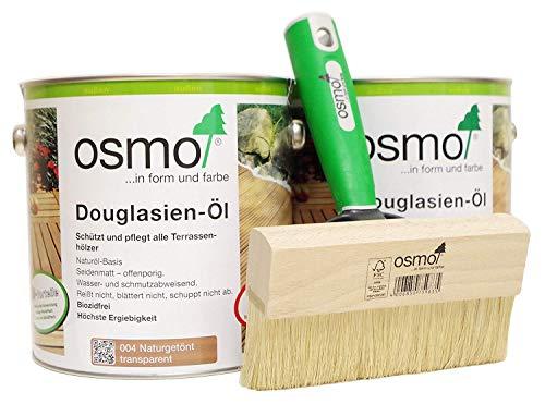 AB.Bauconcept GbR© Kombiangebot: Osmo Douglasien-Öl 004 5 Liter und Osmo Fußbodenstreichbürste 150 mm