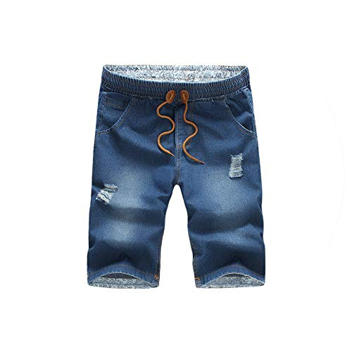 Summer Mens Shorts Casual Blue Beach Jeans Shorts Men Hot Mens Shorts,Dark Blue,XXL -