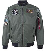 FuweiEncore Chaqueta de Vuelo del Bordado del Bombardero táctico de Top Gun (Color : Verde
