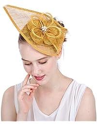 Yiwuhu Elegante Cappello Fascinator da Donna Fascinators Piuma Elegante  Forcella del Cappello del Cocktail Accessori della 3607a09a544a